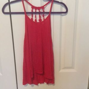 Red flower back tank top
